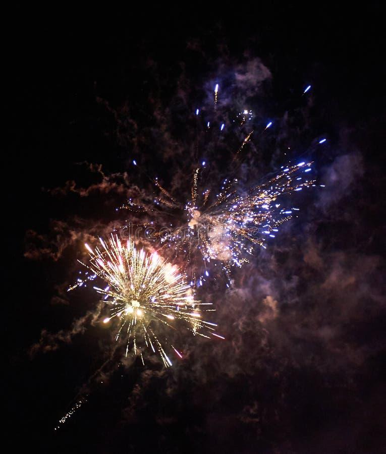 Kolorowi jaskrawi fajerwerki i nocnego nieba tle czerwoni i błękitni obrazy stock