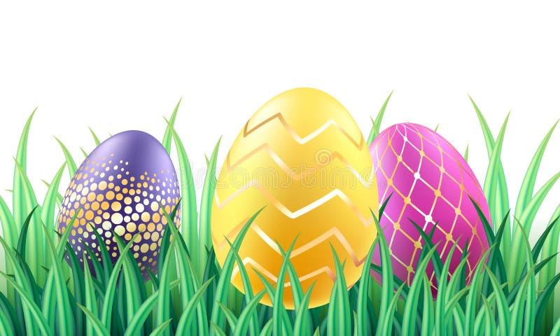 Kolorowi jaskrawi Wielkanocni jajka w trawy tle ilustracji