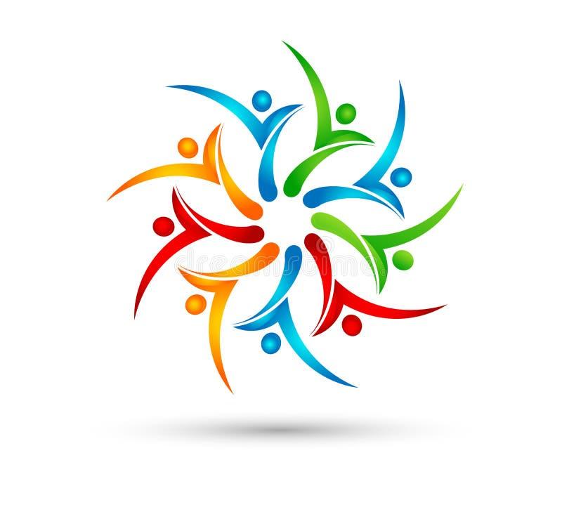 Kolorowi jedność ludzie okrążają wektorowego logo, ikony ilustracja ilustracja wektor