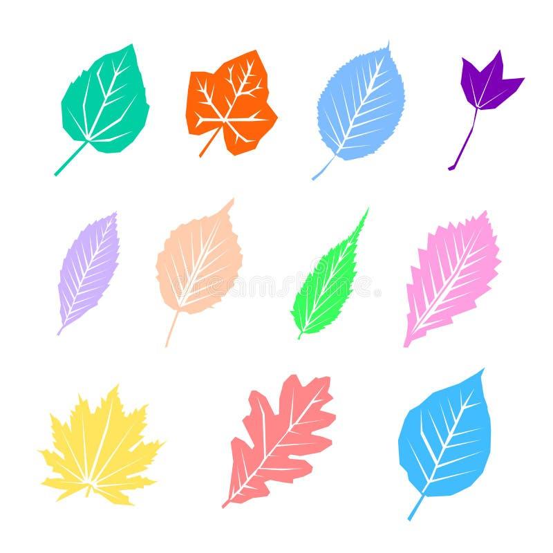 Kolorowi jesień liście ustawiają, odizolowywali na białym tle, prosty kreskówki mieszkania styl, wektorowa ilustracja ilustracja wektor