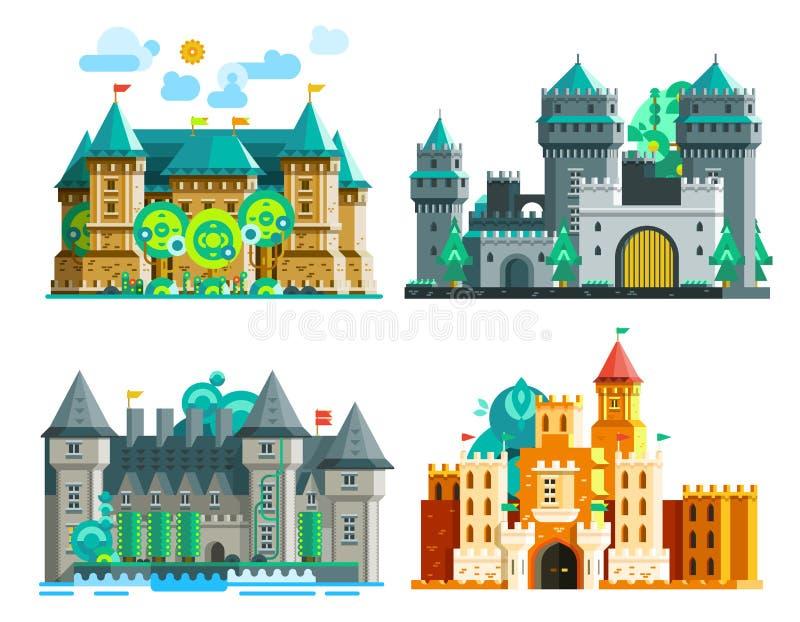 Kolorowi kasztele Ustawiający royalty ilustracja