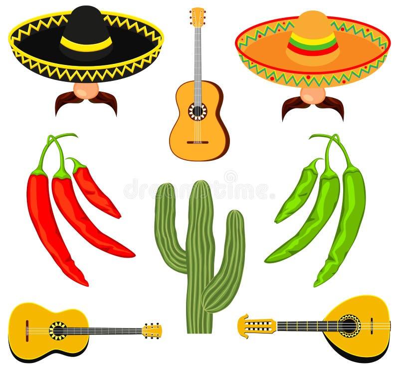 Kolorowi 8 kreskówki meksykańscy elementy royalty ilustracja