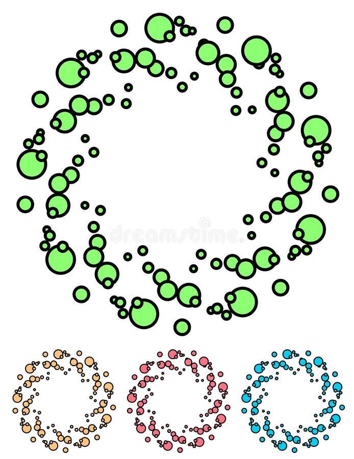 Kolorowi kropkowani elementy, abstrakcjonistyczna ilustracja Set 4 koloru ilustracja wektor