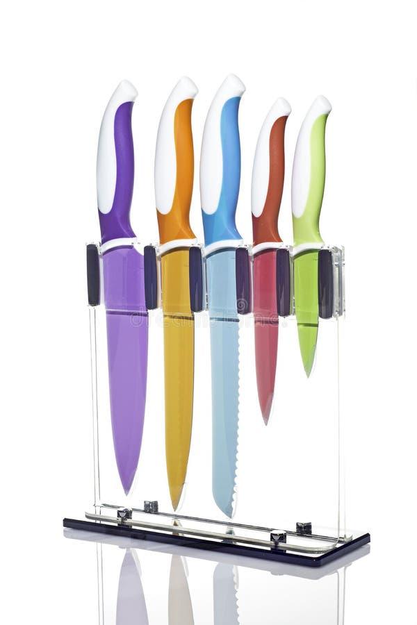 Kolorowi kuchenni noże zdjęcia royalty free