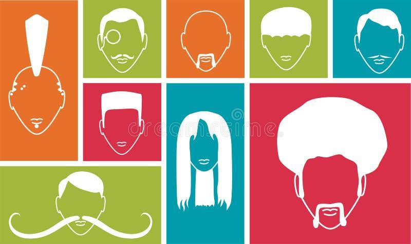 Kolorowi kwadraty z ludźmi ikon royalty ilustracja