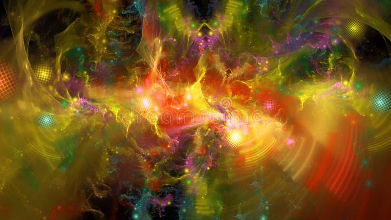 Kolorowi kwanty z fala i cząsteczkami royalty ilustracja