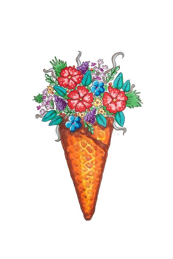 Kolorowi kwiaty w lody rożku - obraz, wildflowers wciąż życie ilustracja wektor