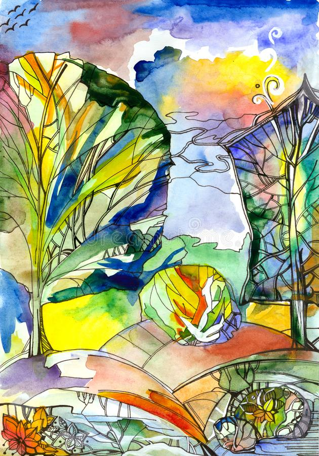 Kolorowi lasowi Różni drzewa i krzaki przeciw multicolor niebu ilustracja wektor