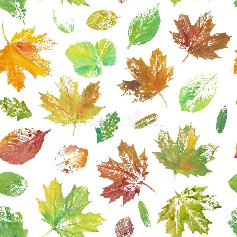 Kolorowi liście malujący w akwareli bezszwowy kwiecisty wzoru royalty ilustracja