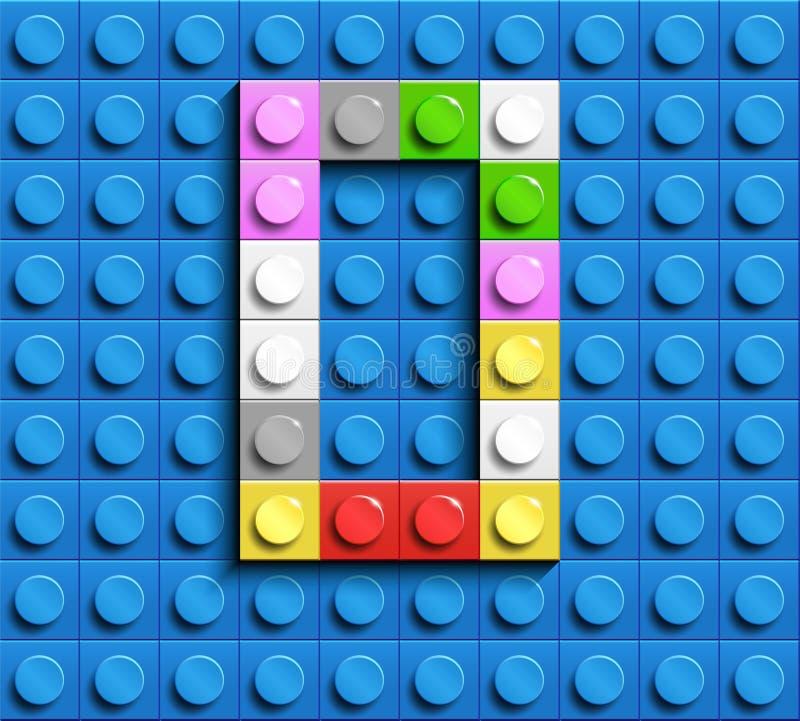 Kolorowi listy O abecadło od budynku lego cegieł na błękitnym lego cegły tle błękitny lego tło 3d pisze list C Realis ilustracja wektor