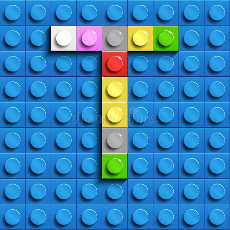 Kolorowi listy T abecadło od budynku lego cegieł na błękitnym lego cegły tle błękitny lego tło 3d pisze list C Realis royalty ilustracja