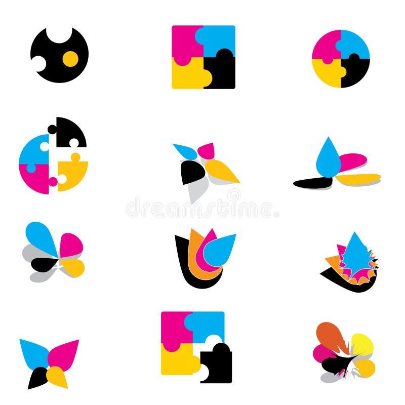 kolorowi logowie ilustracja wektor