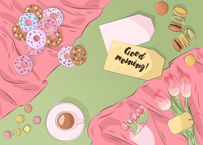 Kolorowi macarons, donuts, tulipany, filiżanka kawy na tablecloth Odgórnego widoku ilustraci ilustracji