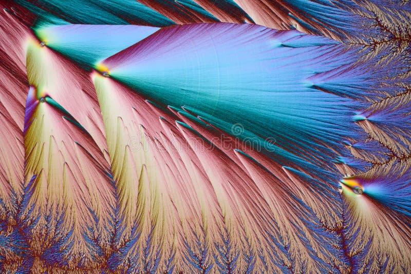 Kolorowi mikro kryszta?y w polaryzuj?cym ?wietle Fotografia przez mikroskopu zdjęcia stock