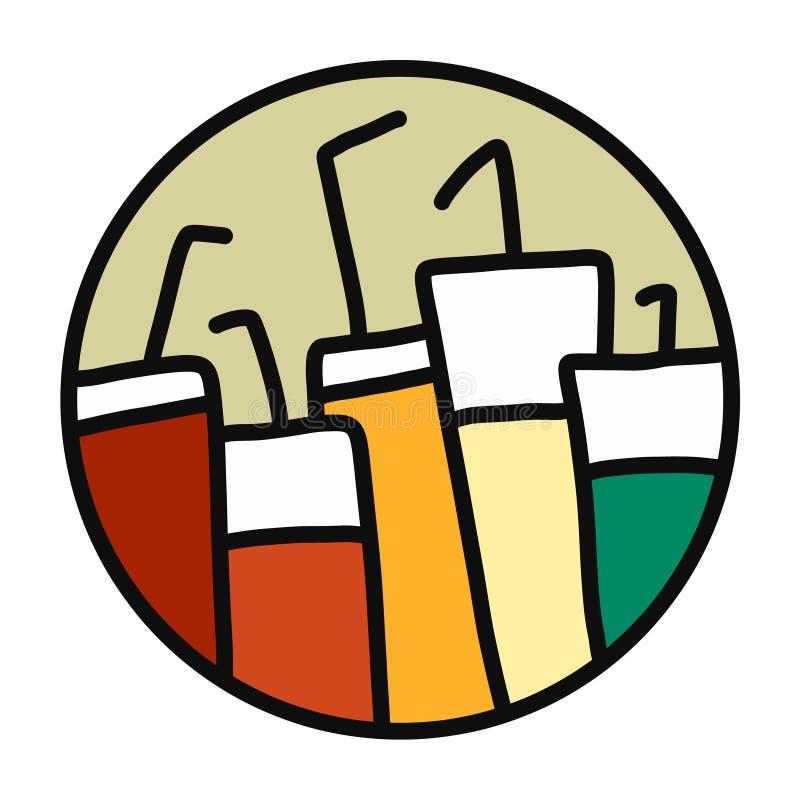 Kolorowi napoje w szkłach ilustracyjnych w logotypie wręczają patroszonego ilustracja wektor