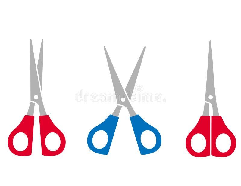Kolorowi nożyce ustawiający ilustracja wektor