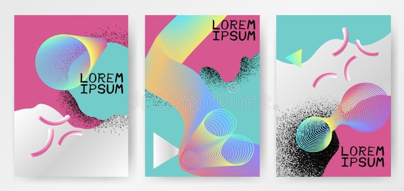 Kolorowi nowożytni abstrakcjonistyczni plakaty z gradientami, okręgi, cienki linia dymu kształt, koloru fluid ilustracja wektor