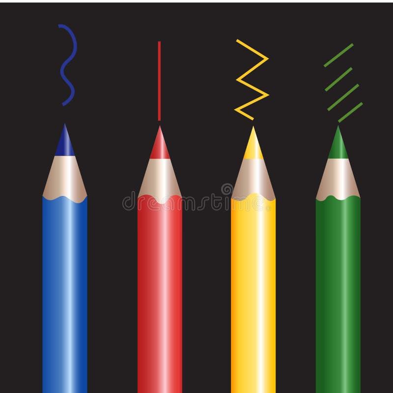 Kolorowi ołówki na czarnym tle transmituje ich kolory w liniach ilustracji