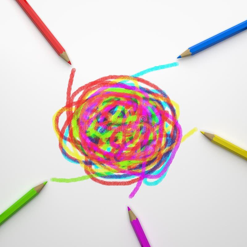 Kolorowi ołówki Brainstorming pojęcie ilustracji