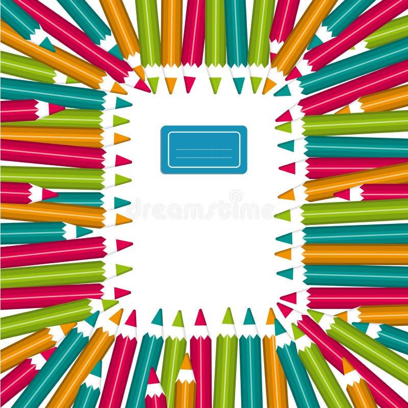 Kolorowi ołówki notatnik rama obrazy royalty free