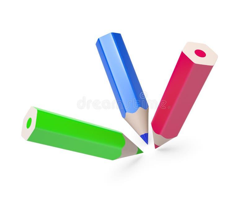 Download Kolorowi odosobneni ołówki ilustracji. Ilustracja złożonej z prowadzenie - 13332296