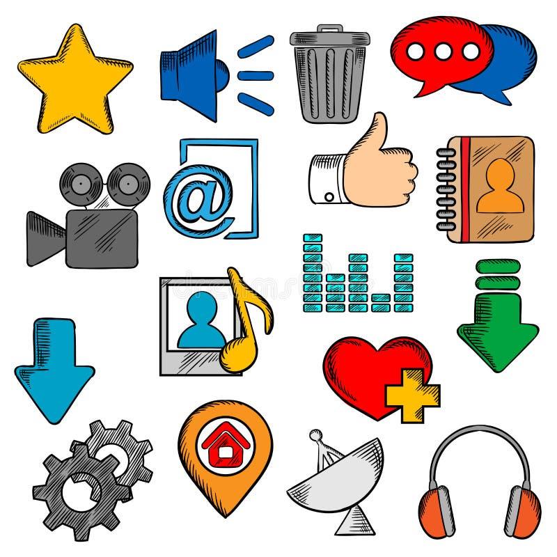 Kolorowi ogólnospołeczni środki i sieci ikony ustawiać ilustracji