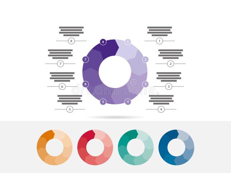 Kolorowi osiem popierający kogoś łamigłówki prezentaci diagrama mapy infographic wektor ilustracji