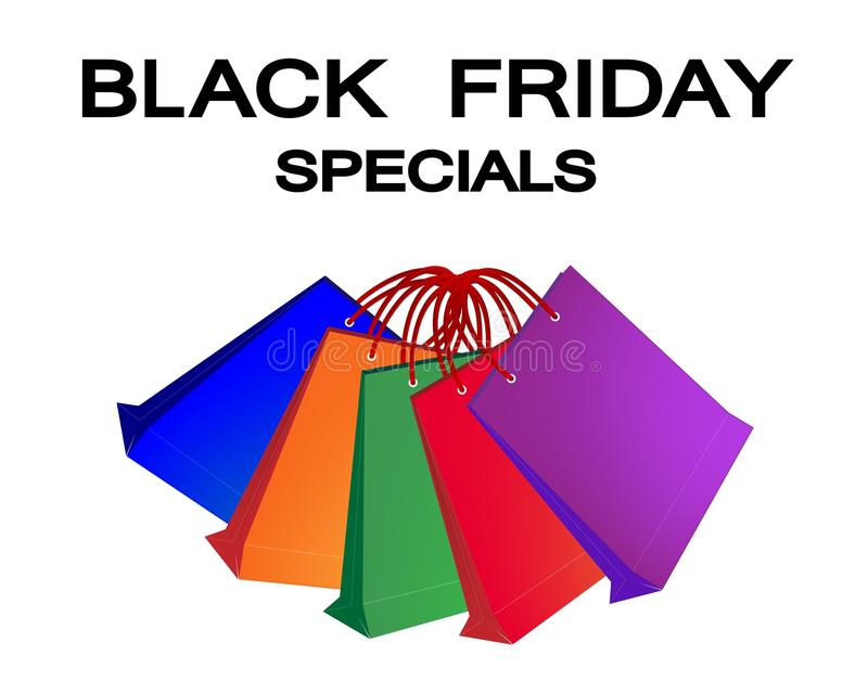 Kolorowi Papierowi torba na zakupy dla Black Friday Spec ilustracji