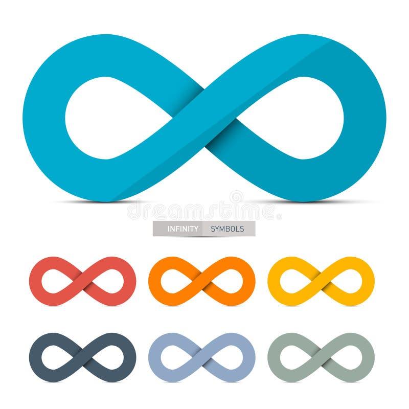 Kolorowi Papierowi Wektorowi nieskończoność symbole Ustawiający ilustracji