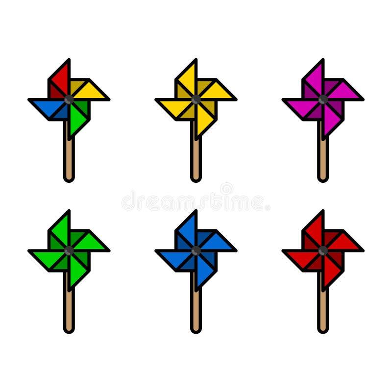 Kolorowi papierowi wiatraczki ustawiający z grubym kształtem również zwrócić corel ilustracji wektora obrazy stock