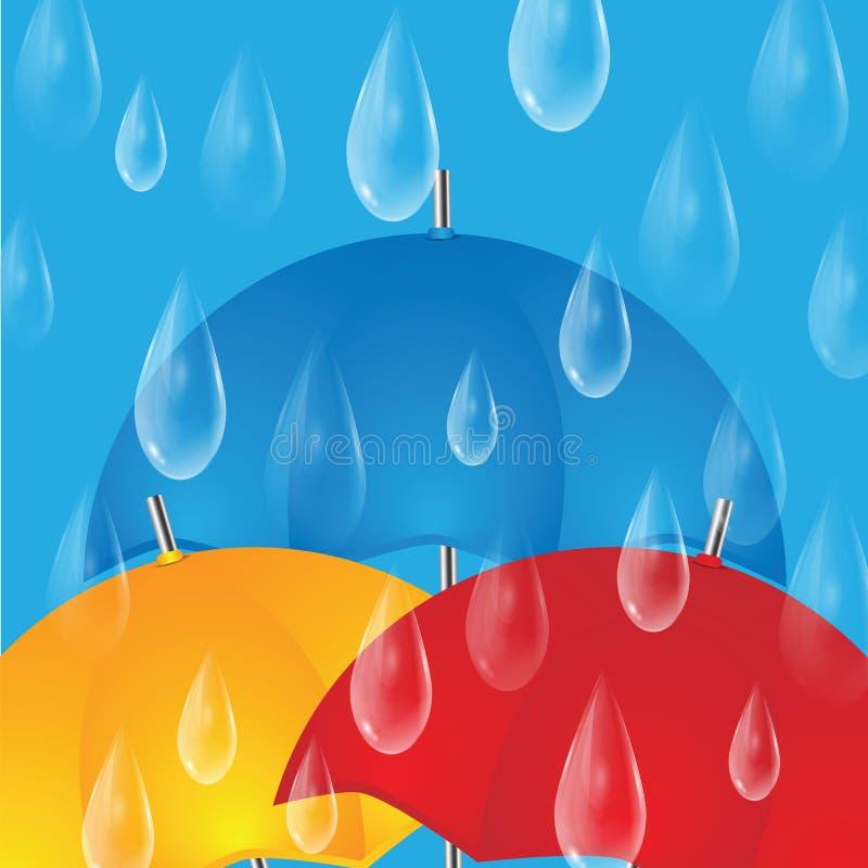 Kolorowi parasole i raindrops royalty ilustracja