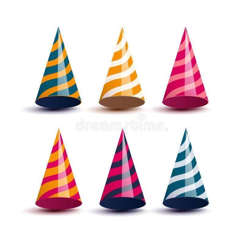 Kolorowi partyjni kapelusze ilustracja wektor