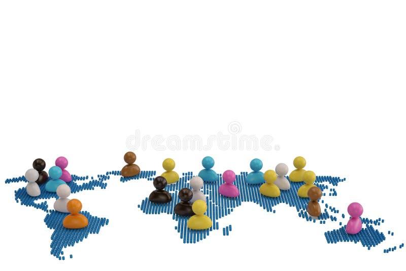 Kolorowi persons na poligonalnej światowej mapie ilustracja 3 d ilustracja wektor