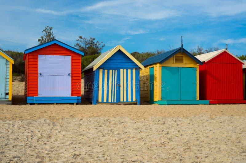 Kolorowi plażowi domy w Melbourne, Australia fotografia royalty free