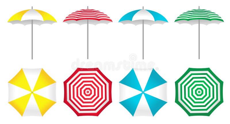Kolorowi plażowi parasole ustawiający ilustracja wektor