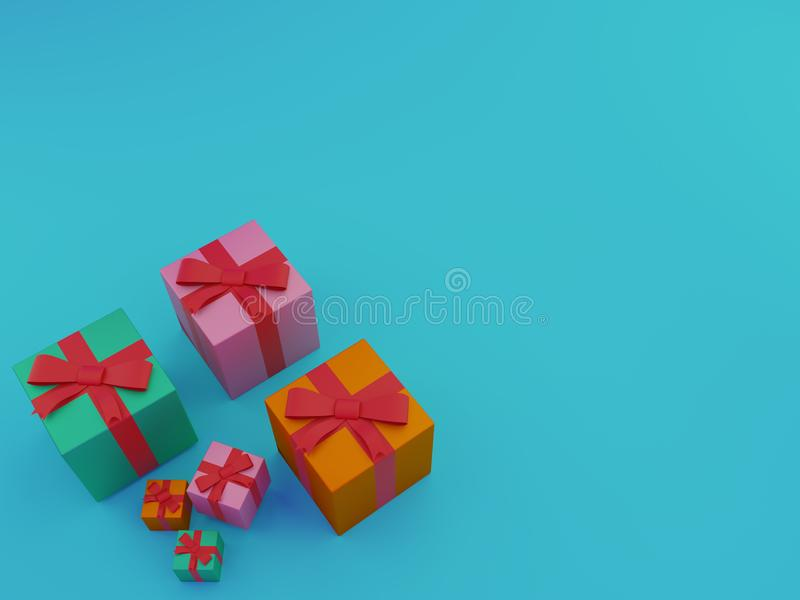 Kolorowi prezentów pudełka nad błękitnym tłem ilustracja 3 d royalty ilustracja
