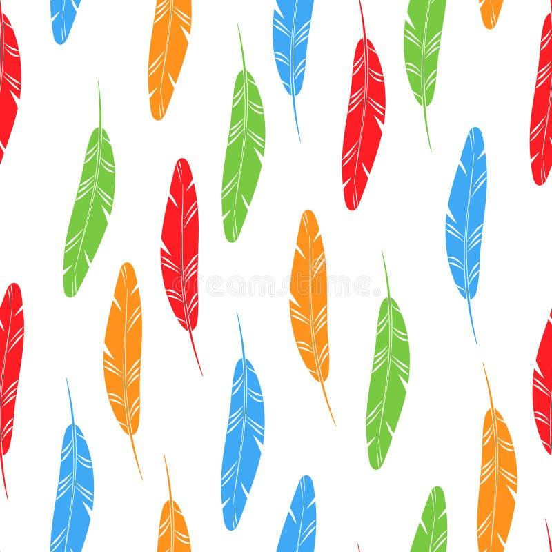 Kolorowi prości pasiaści piórka na białym bezszwowym wzorze, wektor royalty ilustracja