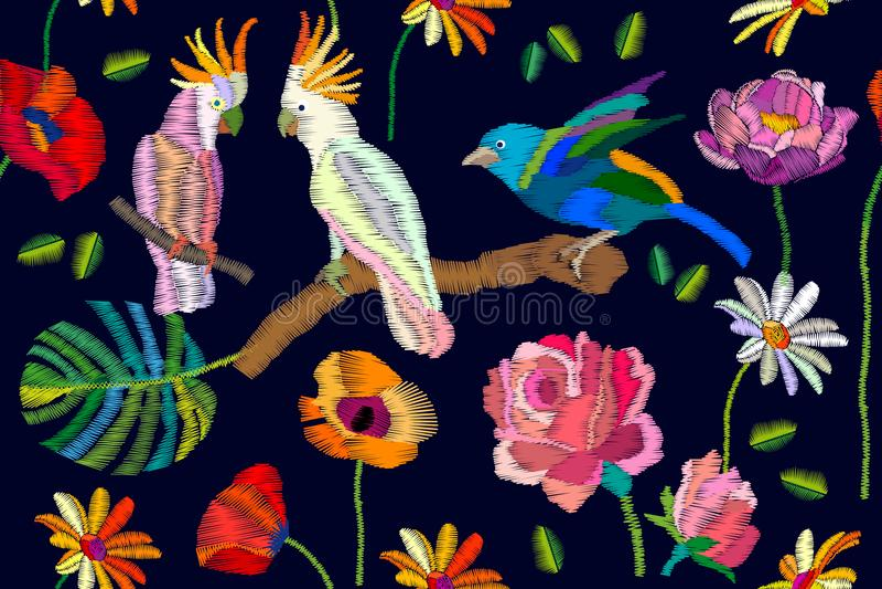 Kolorowi ptaki w tropikalnym ogródzie ilustracja wektor