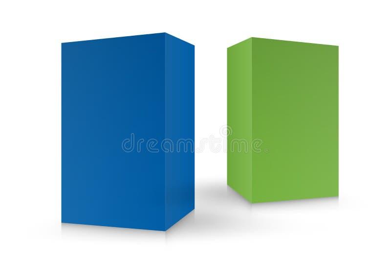 Kolorowi pudełka, pakunek, 3d pudełko, produktu projekt, Wektorowa ilustracja Pakować szablon ilustracja wektor