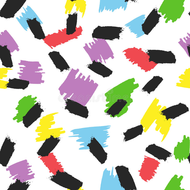 Kolorowi punkty i muśnięć uderzenia plamy farby bezszwowy wzoru Rysujący ręką ilustracji