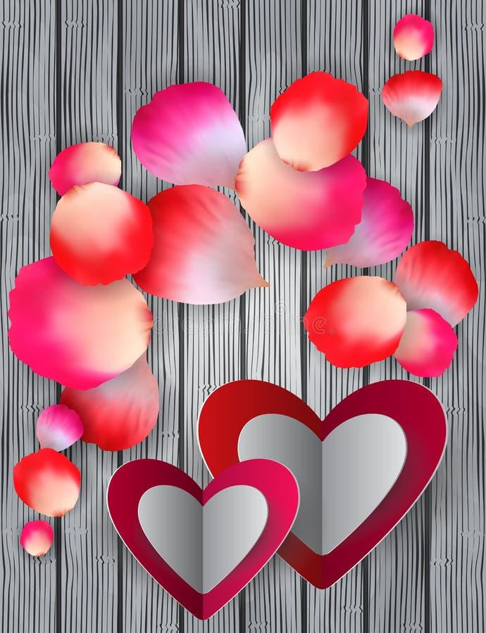 Kolorowi róża płatki, serca i royalty ilustracja