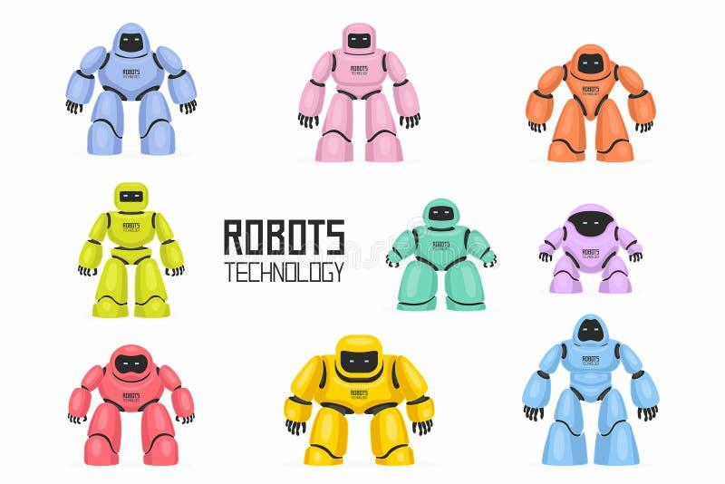 Kolorowi Różni roboty ustawiający ilustracji