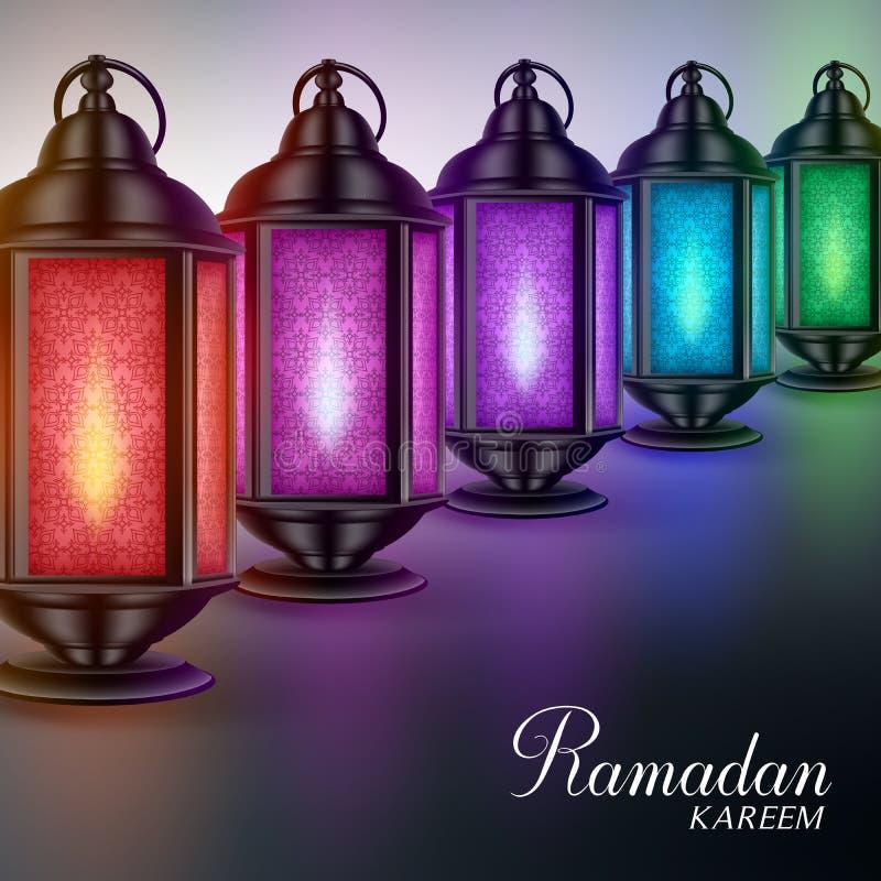 Kolorowi Ramadan lampiony, Fanous z światłami i Ramadan Kareem powitaniami lub ilustracja wektor