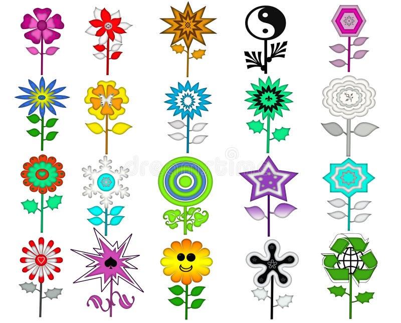 Download Kolorowi Retro Kwiaty Ustawiający Obraz Stock - Ilustracja złożonej z ogród, liść: 28965299