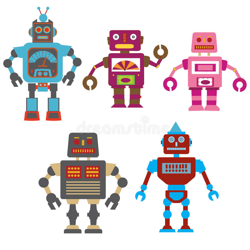 Kolorowi roboty ilustracja wektor