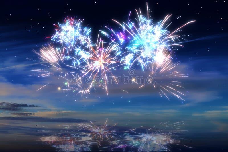 Kolorowi rozjarzeni świętowanie fajerwerki na nocnym niebie zdjęcie stock