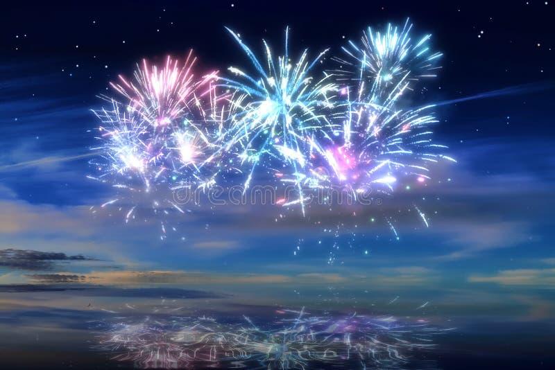 Kolorowi rozjarzeni świętowanie fajerwerki na nocnym niebie obraz stock