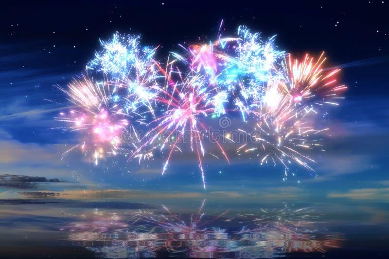 Kolorowi rozjarzeni świętowanie fajerwerki na nocnym niebie zdjęcie royalty free