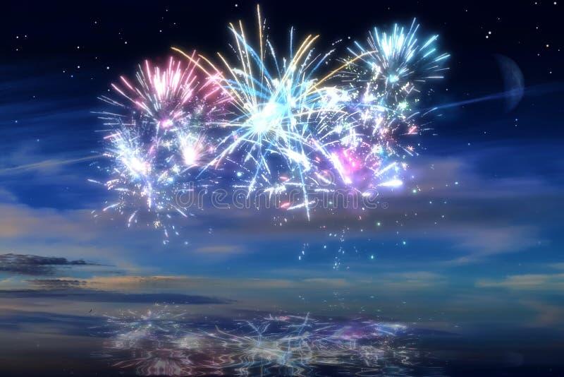 Kolorowi rozjarzeni świętowanie fajerwerki na nocnym niebie obraz royalty free