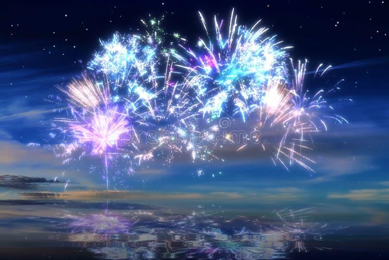 Kolorowi rozjarzeni świętowanie fajerwerki na nocnym niebie fotografia stock